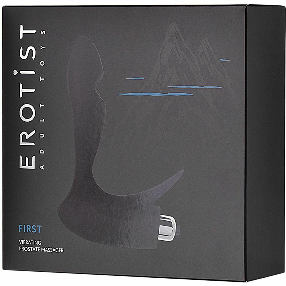 Массажер простаты «First» со съемной вибропулей,  9,8см цвет черный