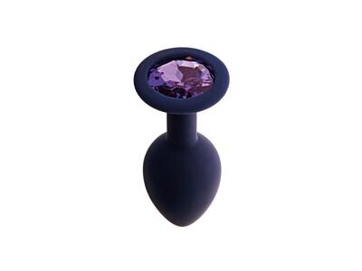 Анальная пробка с кристаллом Gamma, цвет Черничный + фиолетовый кристалл (CORE)