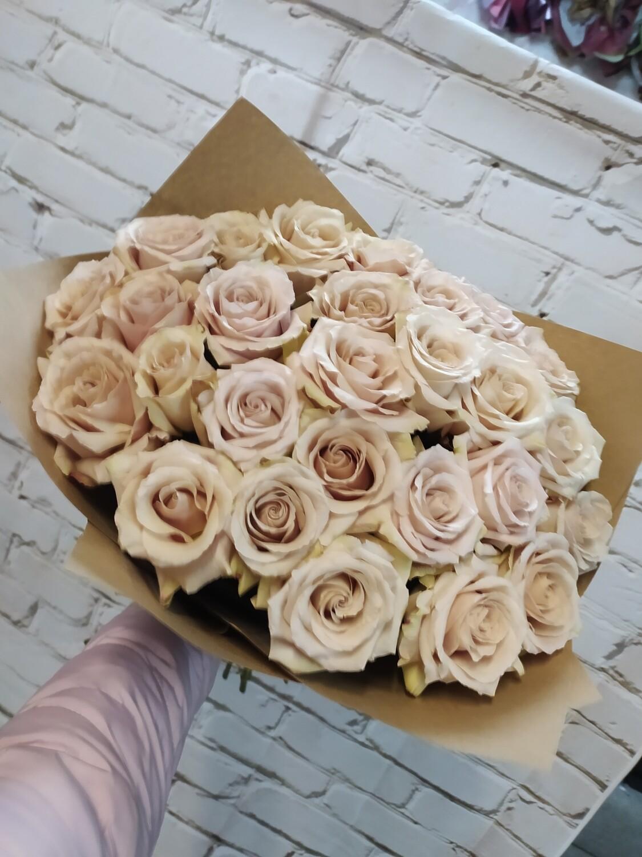 Букет из 25 роз Эквадор сорт (Капучино)