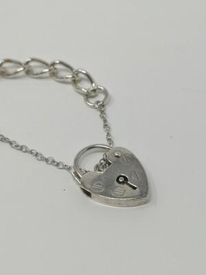 Silver 925 Bracelet with L Letter Charm