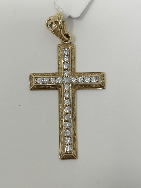 9ct Gold Cross CZ 375