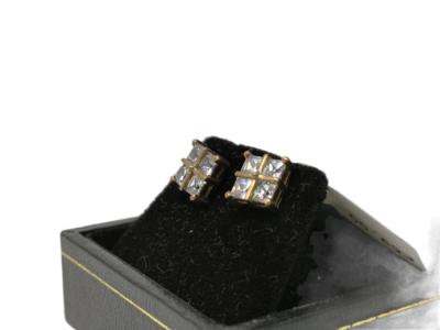 9ct Gold CZ Earrings Unisex