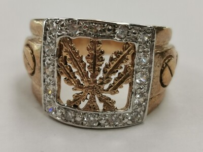 9ct Gold Cannabis Leaf Ring