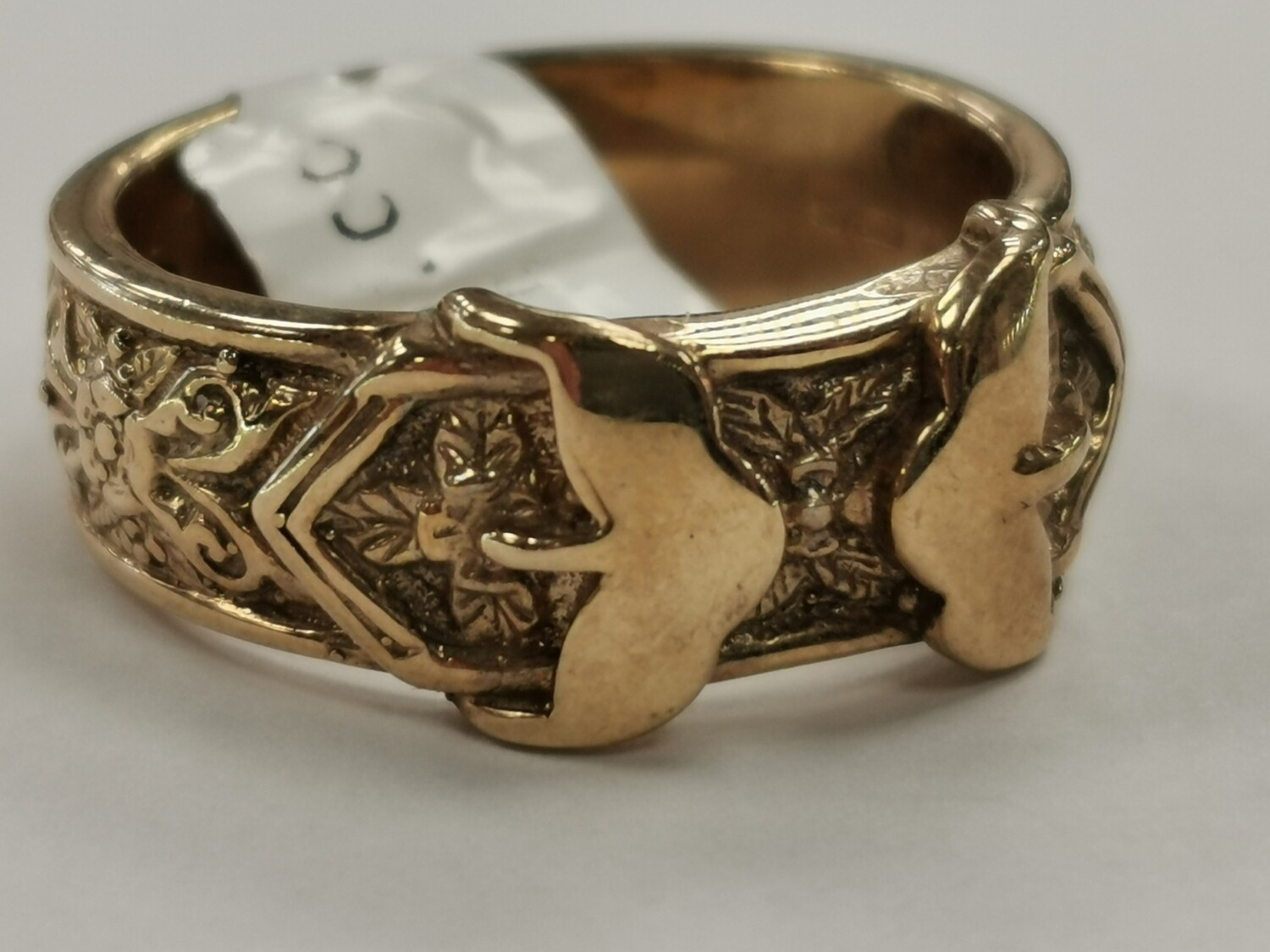Men's Solid 9ct Gold Yellow Duble Buckle Ring