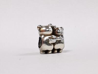 Pandora Charm Bear Hug Silver Gold Heart Love