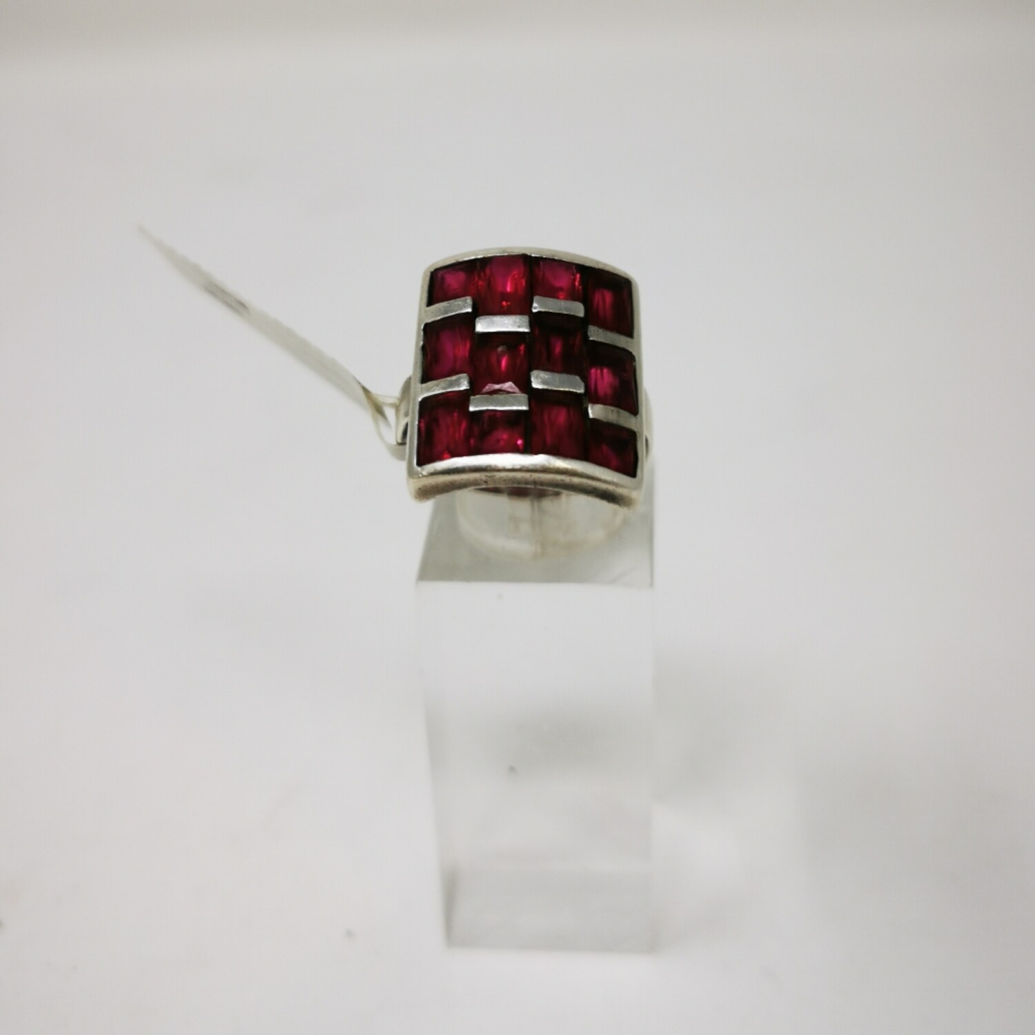 Silver Red Stone Ring - Ladies 925