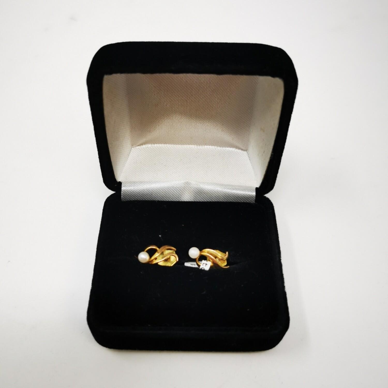 9ct Gold Pearl Earrings 9K