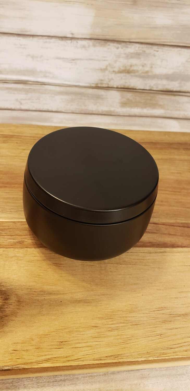8 oz black metal tin
