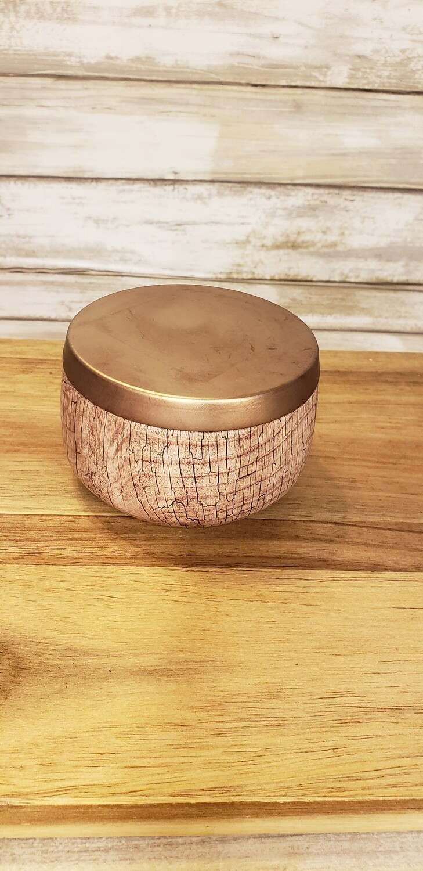 8 oz wood style metal tin