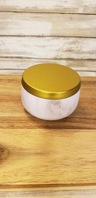 8 oz white marble tin