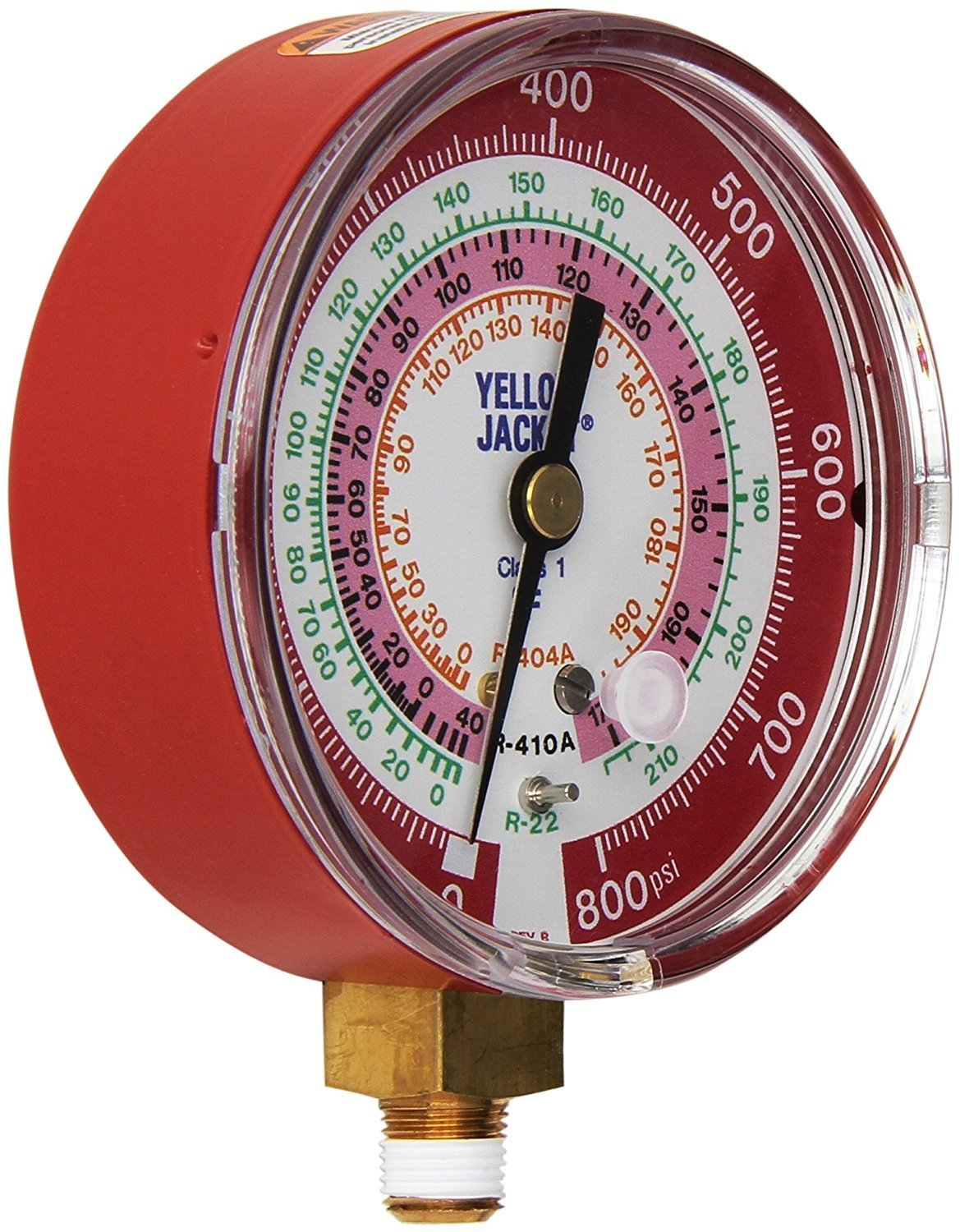 """Yellow Jacket 49137 3-1/8"""" Red Pressure, 0-800 psi, R-22/404A/410A Gauge degrees F"""