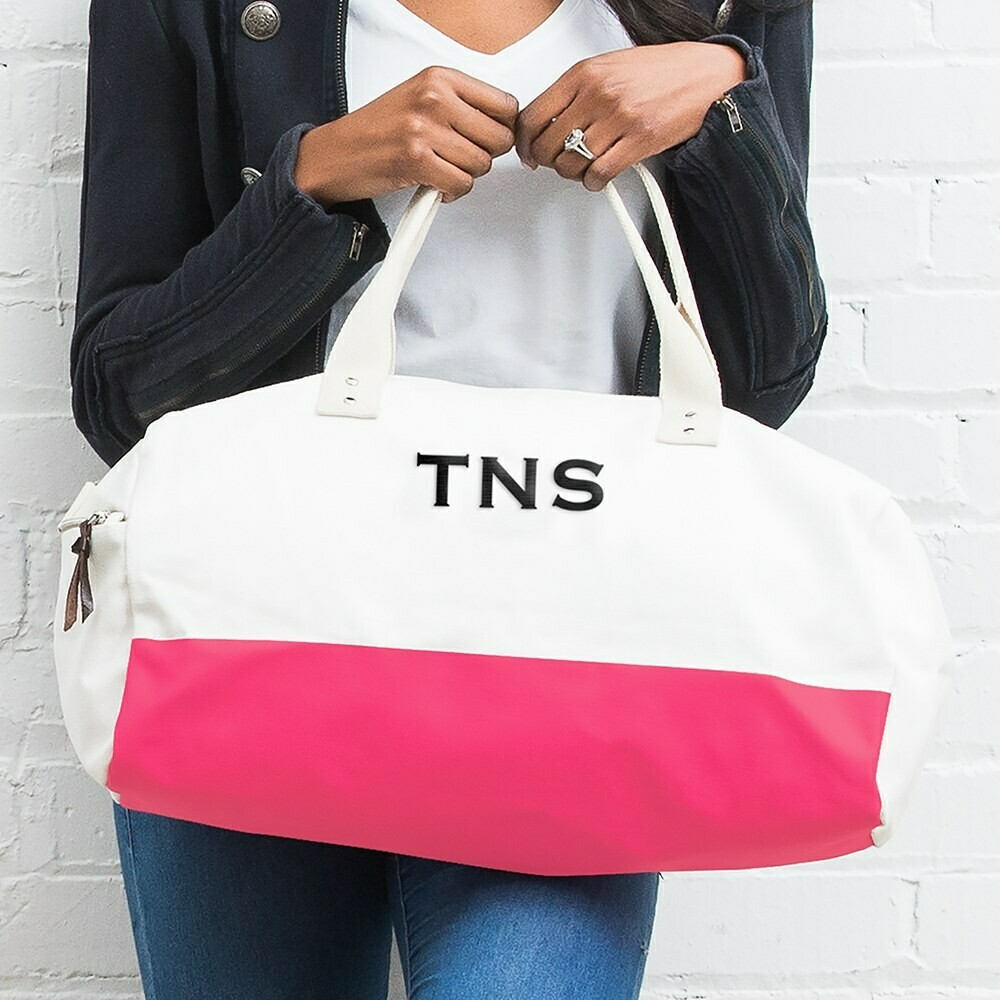 Large Personalized Weekender Cotton Canvas Fabric Tote Bag