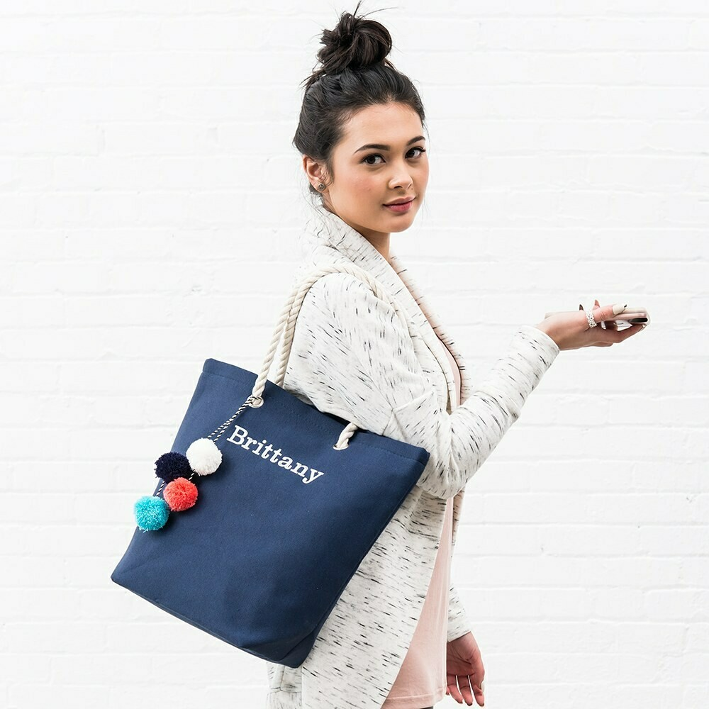 Canvas Fabric Beach Tote Bag (Solid)