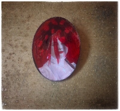 """Brooch """"The Lady with the Feather"""""""