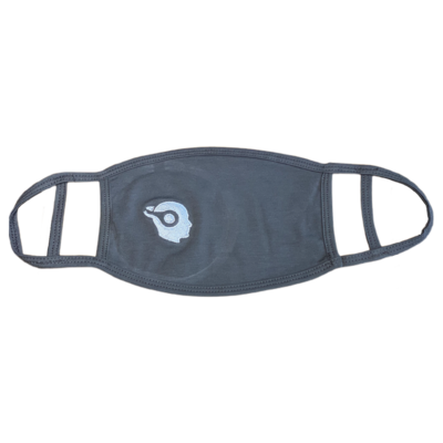 DARK GREY - SILVER LOGO - EMBROIDERED FACE MASK