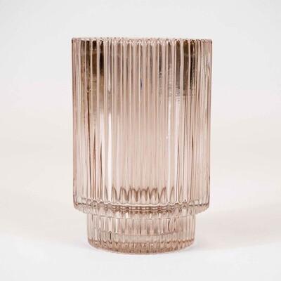 Castiçal em vidro canelado