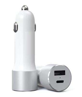 Chargeur allume-cigare USB Type A et USB Type C Noir ou Blanc