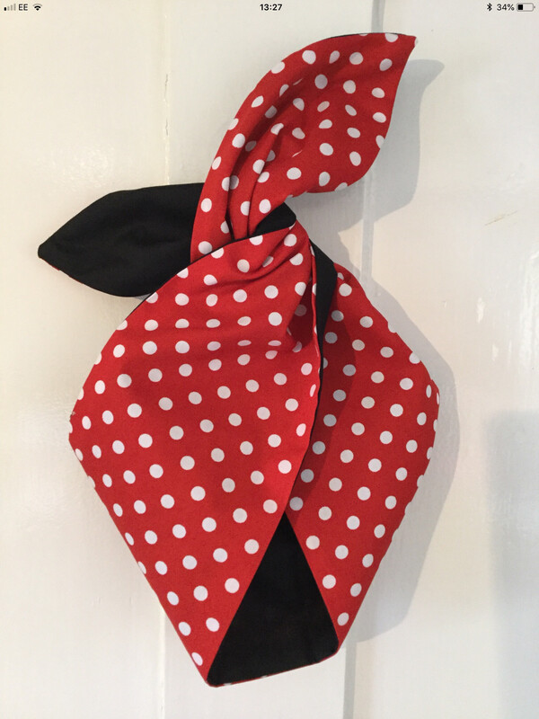 Girlie Minnie ( Red Polka With Plain Blk Reverse ) Hairband