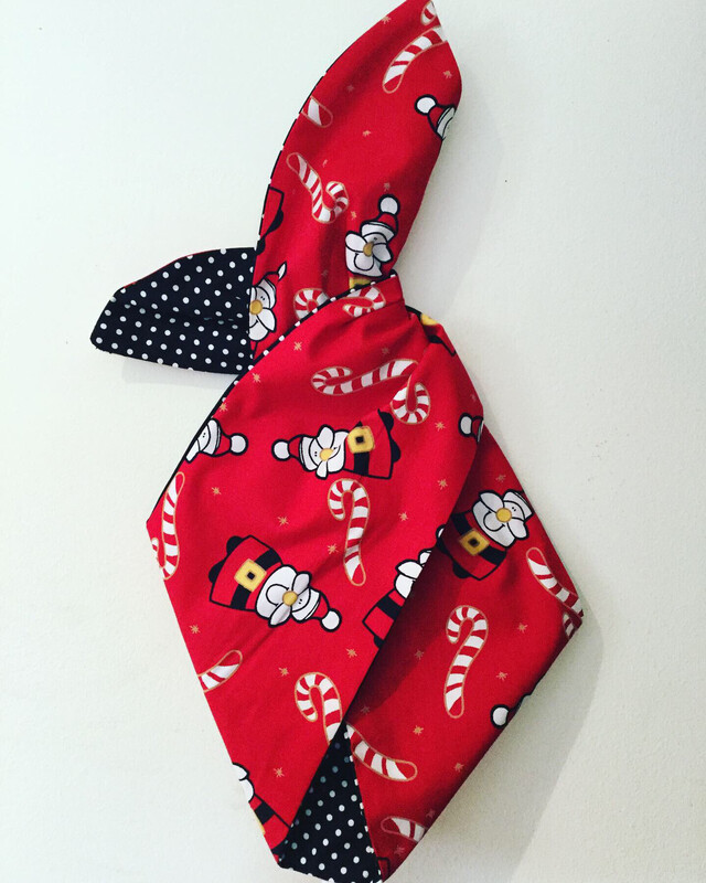 Red Santa And Candy Cane Wired Hairband With Black Polka