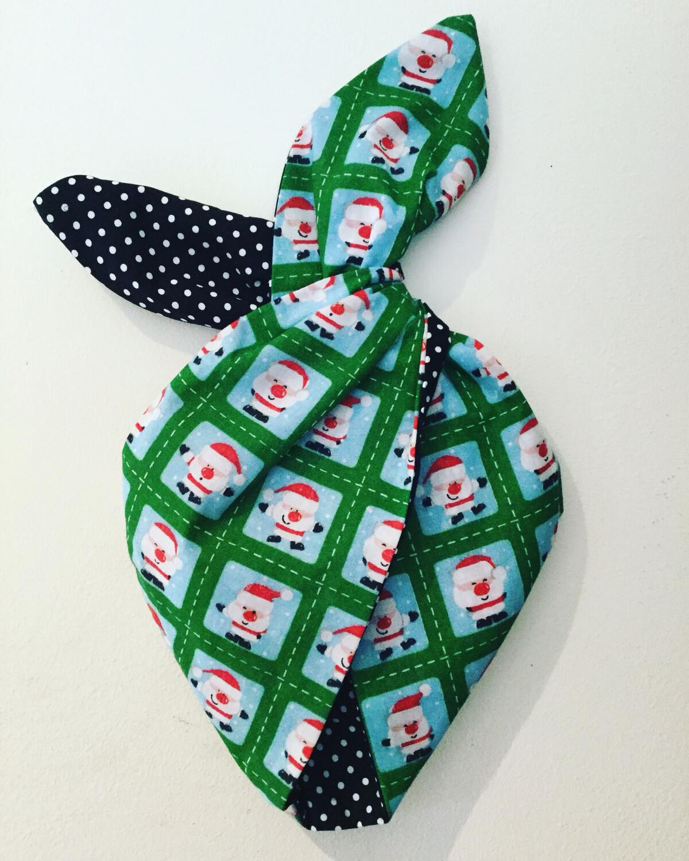 Girlie Green Santa Stamp Festive Hairband