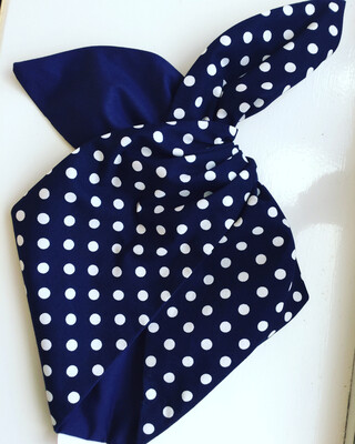 Navy polka dot hairband