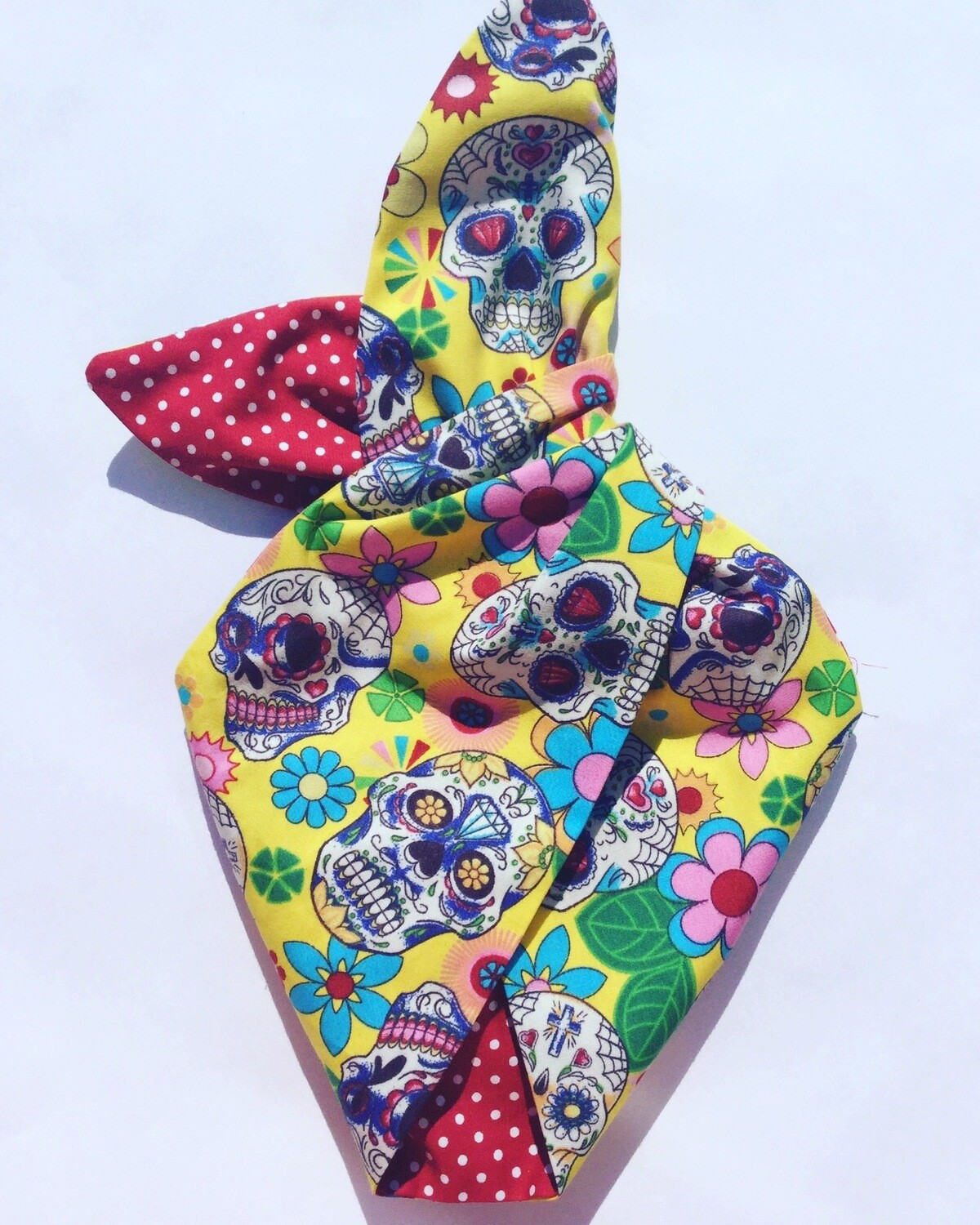 Little Girls Yellow Candy Skull Wired Hairbands