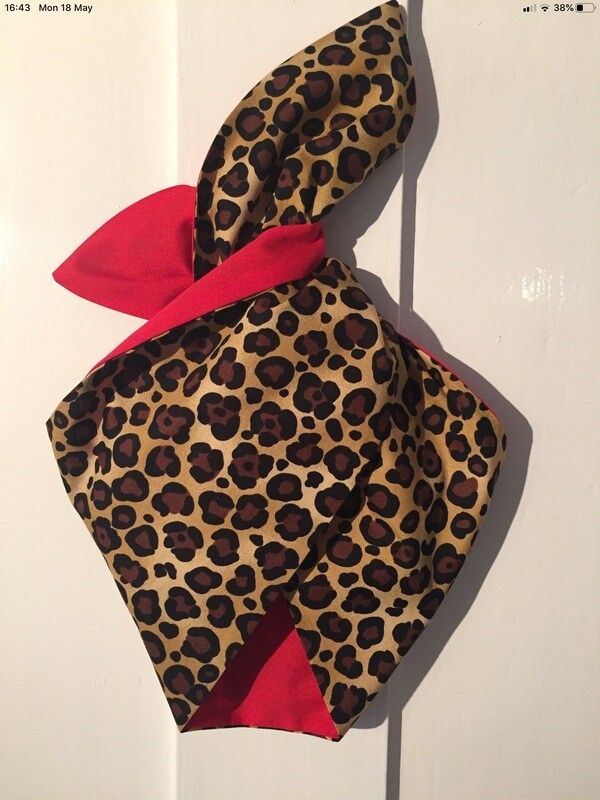 Little Girls Red Leopard Print Wired Hairband