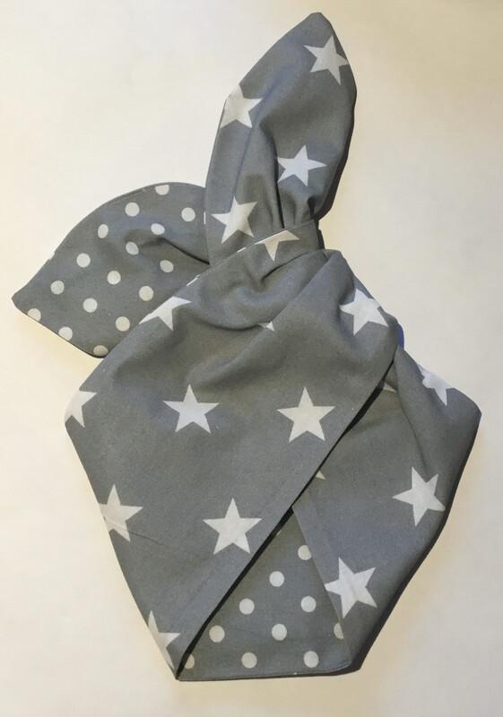 Grey star and polkadot wired hairband