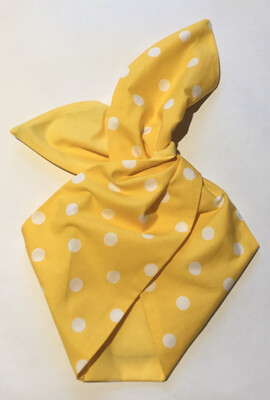 Bright yellow Large polka dot wired hairband