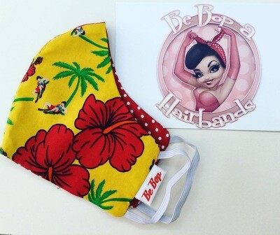 Yellow Hibiscus and Red Polka Reversible Face Mask