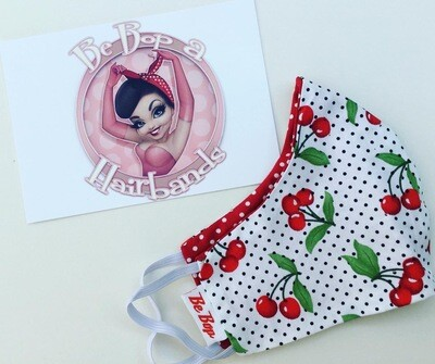 White Polka Dot Cherry With Red Polka Reversible Face Mask