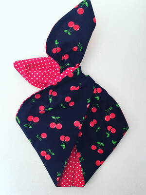 Navy cherry with red Polka backing wired Hairband