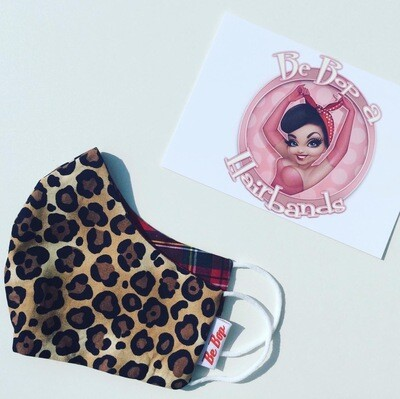 'Amy' Leopard And Tartan Reversible Fave Masks