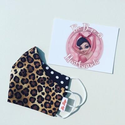 Leopard And Black Polka Dot Reversible Facemask