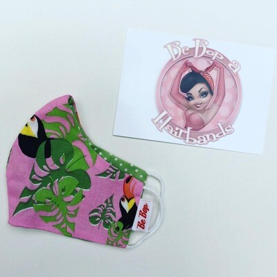 Pink Toucan With Lime Polka Reversible Facemask