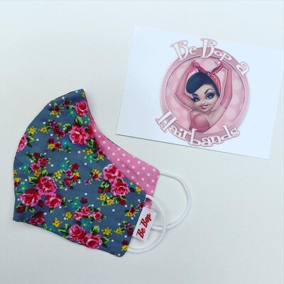 Grey Ditzy Print Floral With Cerise Pink Polka Reversible Facemask