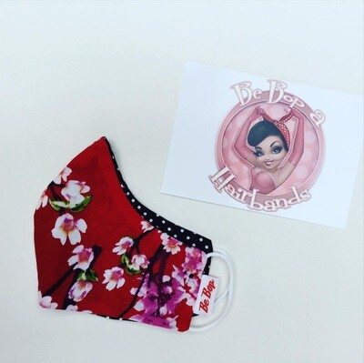 Red Cherry Blossom With Black Polka ,reversible Facemask