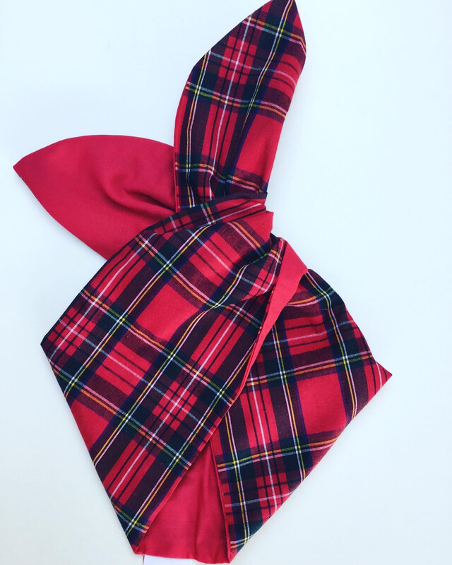 Red tartan / plain red wired hairband