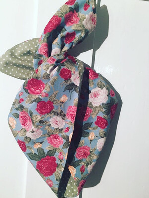 Teal vintage rose with Sage Green polka wired hairband