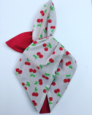 Retro cherry with Plain Red Wired Hairband