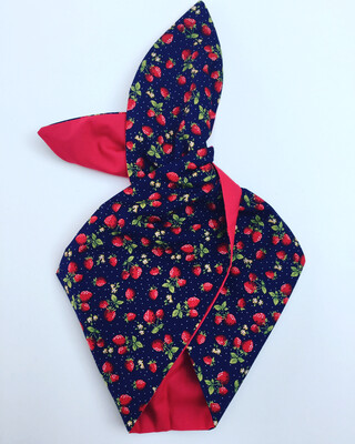 Navy strawberries with plain red wired hairband