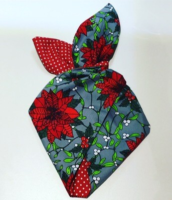 Grey Mistletoe And Poinsettia Wired Hairband With Red Polka Dot