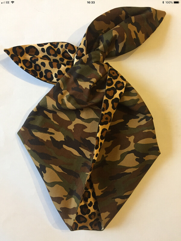 Camouflage and leopard print hairband
