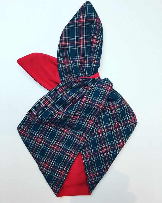 Christmas Tartan Backed In Plain Red Wired Hairband