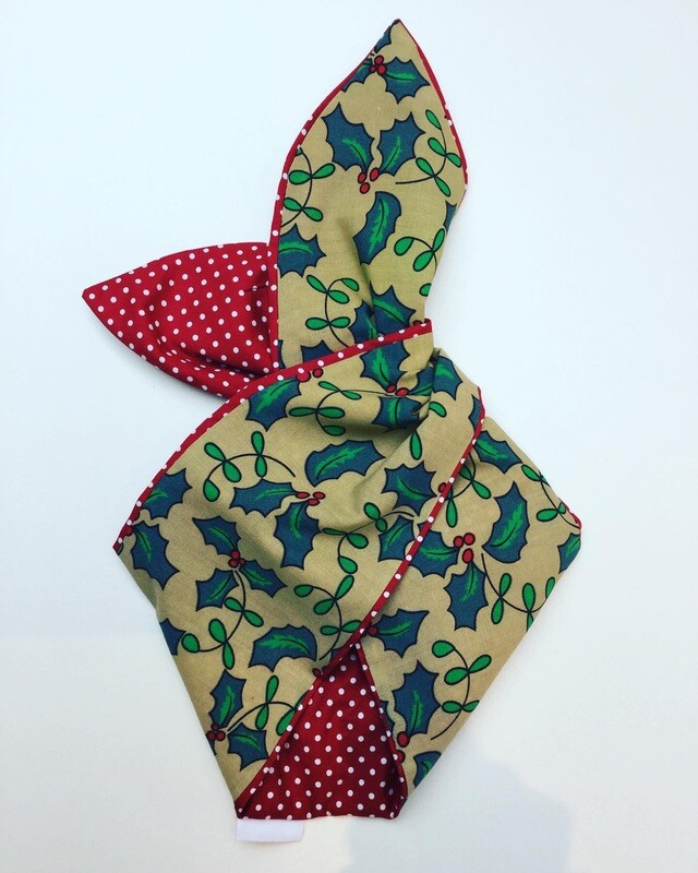 Large Holly With Red Polka Dot Wired Hairband
