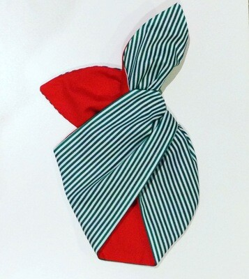 The Grinch  ( Green Candy Stripe With Red )wired Hairband