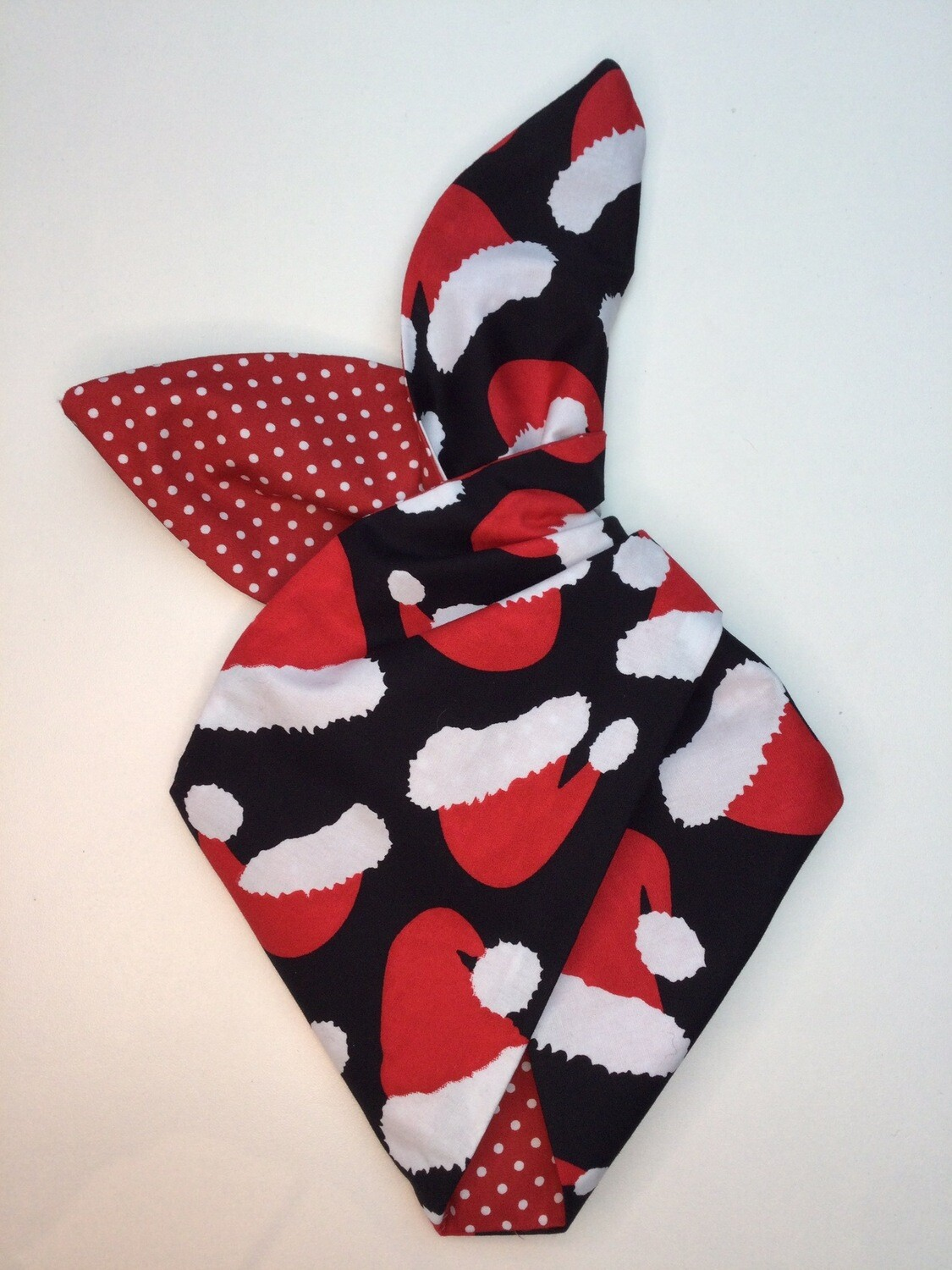 Little Girls 'Santa Baby' In Black And Red Polka Wired Hairband