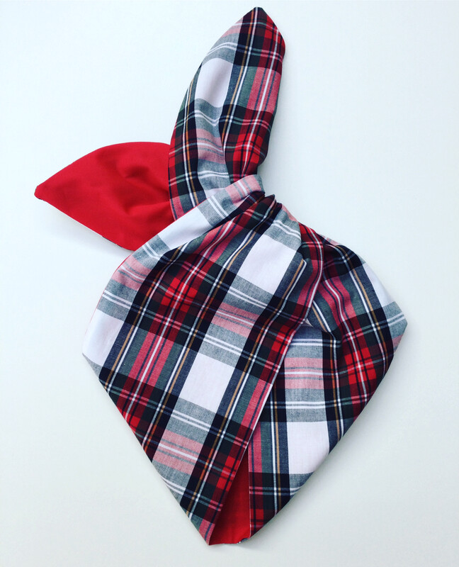 White tartan with red reverse wired hairband