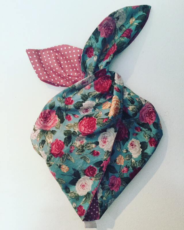 Teal vintage rose with Dusky Pink  polka wired hairband