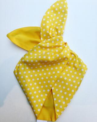 Bright yellow polka dot wired hairband